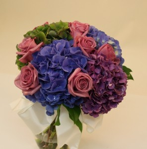 Handtied bouquet for the Bride - in purple, blue and mauve