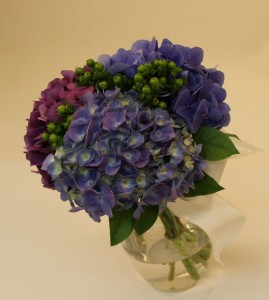 Hydrangea and Hypericum in the Bridesmaid's Bouquet