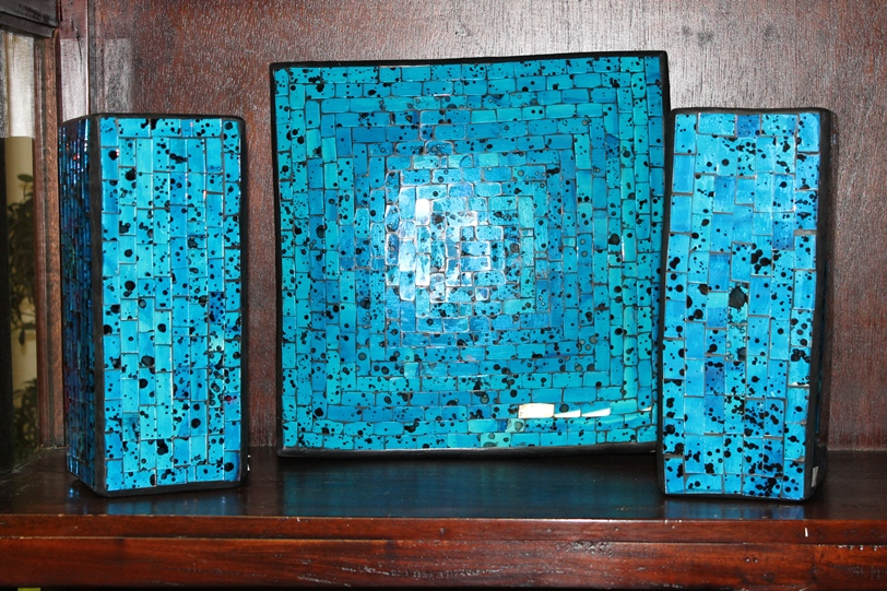 Two Square Shaped Vases with Plate