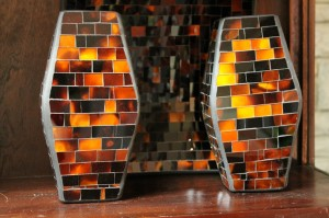 Orange Tones in Glass Mosaic Vases