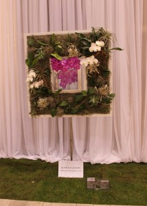 Square design with orchids and air plants