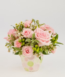 Delicate pink rose centrepiece