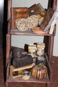 Artificial pumpkin, log candles, decorative balls