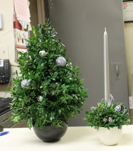 A tabletop Christmas tree