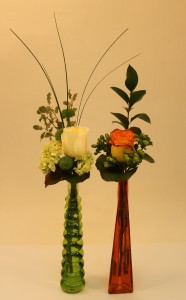 Bottle bud vases green and orange