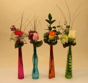 Colourful bud vases