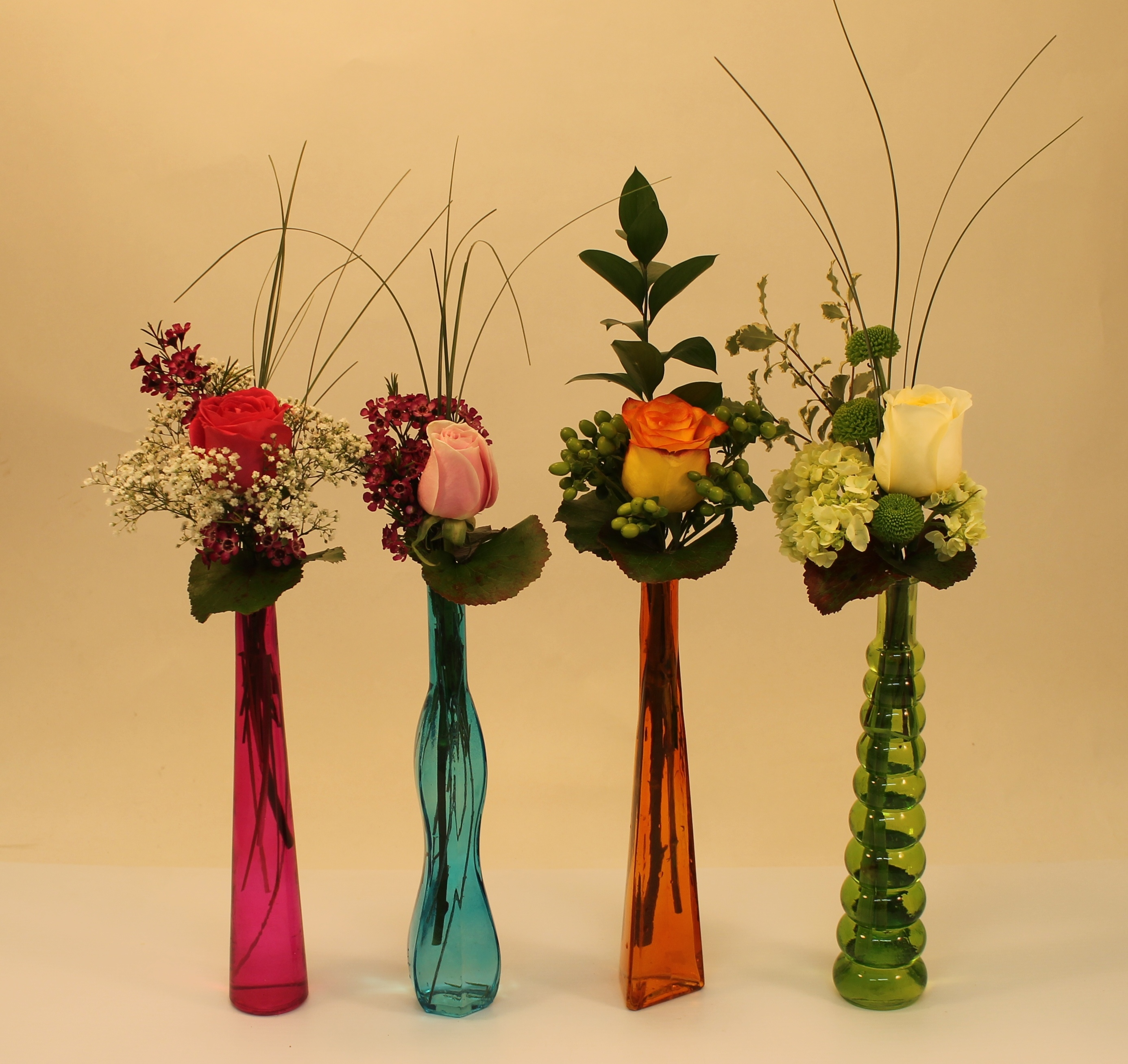 Colourful bud vases