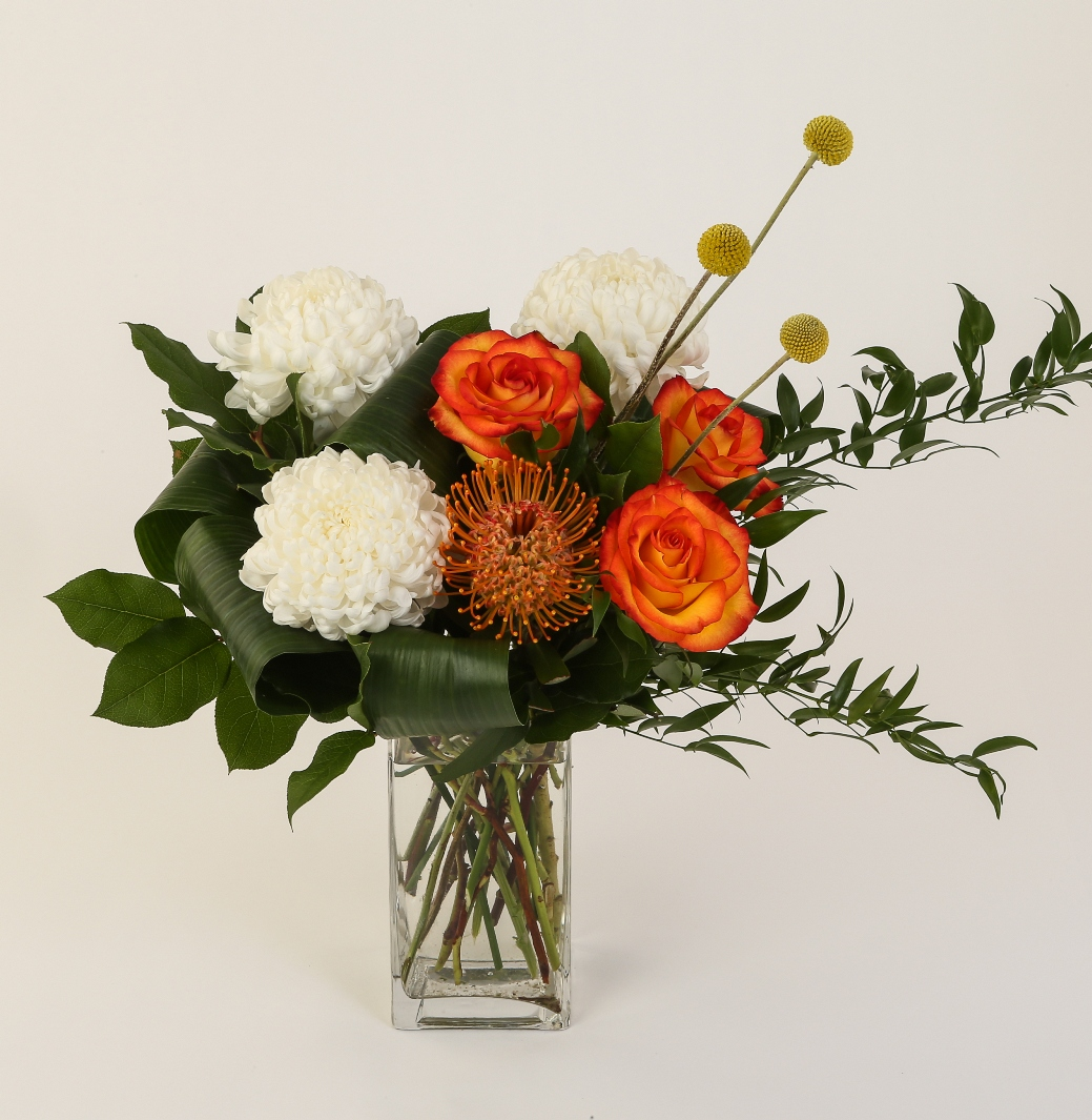 Pincushions, roses, craspedia