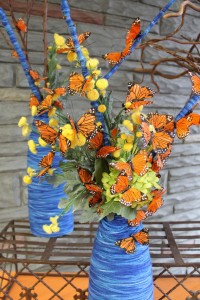 Yarn wrapped vases