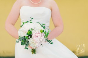 peonies, hydrangeas and soft greens in a bridal bouquet