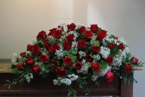 Casket Spray of Red Roses