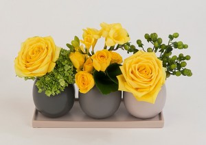 Set of 3 pots with yellow flowers
