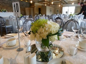 white and green centrepiece