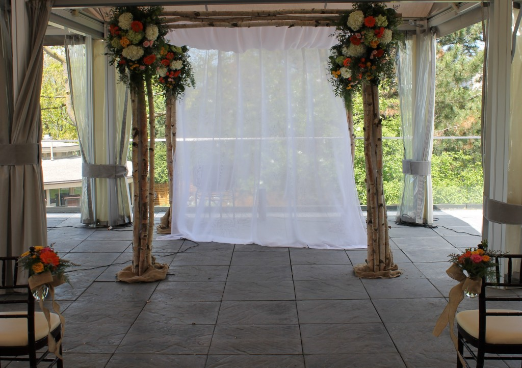 Chuppah of birch boughs