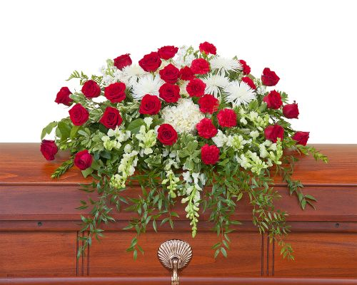 Casket Spray in red and white