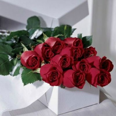 One Dozen Boxed Long-stemmed Roses